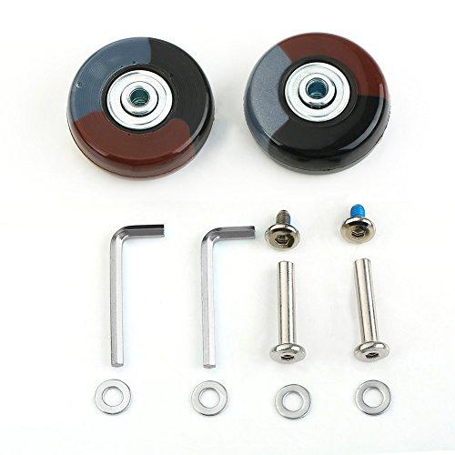 1Paar Gepäck Koffer Ersatz Wheels Ersatzrad Rad Gummi Metall für Trolley Gepäckkoffer Hartschalenkoffer (50 *6*18mm) (Achsenlänge:30mm)