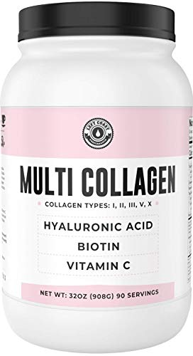 Collagen with Biotin, Hyaluronic Acid (2lb Value Size) Plus Vitamin C | Hydrolyzed Multi Collagen Protein (Types I, II, III, V, X). for Hair, Skin, Nails. Collagen Peptides Supplement for Women, Men