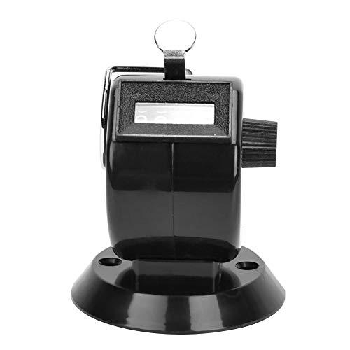 Handräknare 4-siffrig räknare ABS-plastskal mekanisk knapp tillbaka räknare med krok sport (svart)