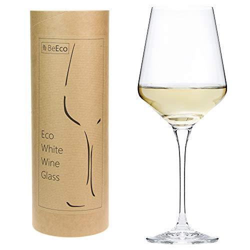 BeEco Bicchiere da vino bianco 380ml   Bicchiere da vino grande con gambo lungo   Prodotto ecologico in un Tubo di Cartone   Set di 1 Bicchieri   Riciclabile al 100%