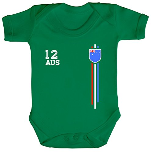 ShirtStreet Australia Soccer World Cup Fussball WM Fanfest Gruppen Strampler Bio Baumwoll Baby Body kurzarm Jungen Mädchen Streifen Trikot Australien, Größe: 12-18 Monate,Kelly Green