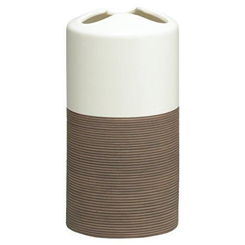 Sealskin Zahnbürstenhalter Doppio Porzellan Braun Vaso para Cepillo de Dientes, Porcelana, Marrón, 6.9 x 6.9 x 13.4 cm