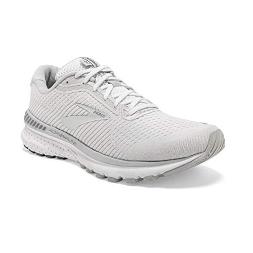 Brooks Womens Adrenaline GTS 20 Running Shoe - White/Grey/Silver - B - 10.5