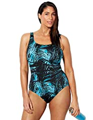 PRODUCT DETAILS: Scoopneck. Encircled shelf bra with soft wire-free molded cups. Non-adjustable wide straps offer full bust support. Power Mesh front lining. Unlined back. FIT & SIZING: Full bottom coverage. Swim Solutions: Tummy Control. FABRIC & CA...