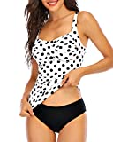 zeyubird Women Two Piece Ruched Cross Tankini Set Wrap Twist Tummy Control Swimsuit Bathing Suit with Bottoms White Polka Dot L