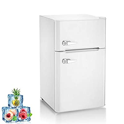 Kismile Double Door 3.2 Cu.ft Compact Refrigerator with Top Door Freezer,Freestanding mini Fridge with Adjustable Temperature,Upright Freezer for Apartment,Home,Office,Dorm or RV (White, 3.2 Cu.ft)