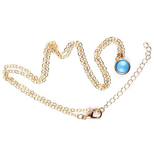 ZYLL Exquisito Azul Bola de Cristal Colgante con Forma de Collar Boda con Encanto Dorado Color Plateado Gargantilla Elegante Dama Fiesta Joyería de Moda