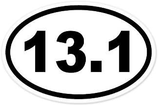 13.1, I Make Decals®, Oval Half Marathon Run car bumper window sticker 3 inch x 5 inch, EURO OVAL - runner, running, race, marathon, vinyl Sticker Decal