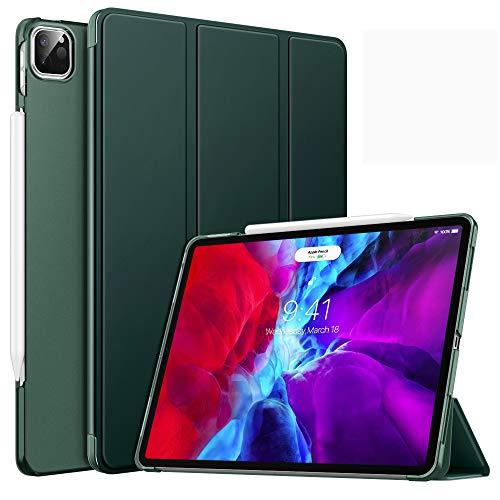 MoKo Hülle Kompatibel mit iPad Pro 12.9 4th Generation 2020 und 2018 Tablet - Durchscheinende Schützhülle Magnetische Befestigung Ladung von, Auto Schlaf/Aufwach Funktion Smart Hülle - Nachtgrün