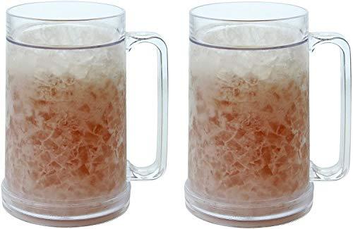 Freezer Mugs - Double Wall Gel Frosty Mug - Beer Mugs For Freezer Mugs with gel 16oz - Set of 2 Clear