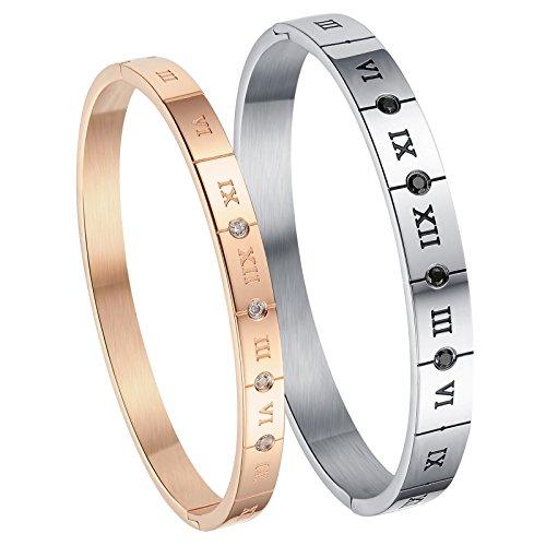 Cupimatch 2pcs Herren Damen Paar Armband, Edelstahl römische Ziffern mit zirkonia Partner Armreifen Freundschaftsarmbänder, Silber Rosegold