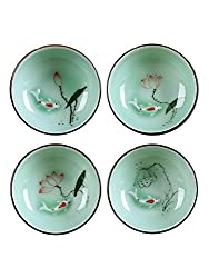 Hand Painted Kungfu Teacup,Chinese Long-quan Celadon Teacup,Fishes and Lotus Pattern,set of 4