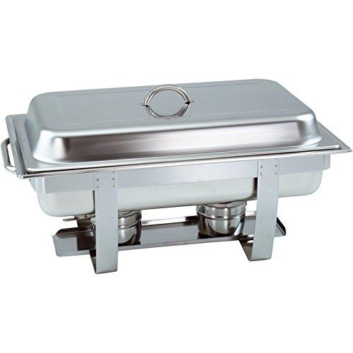 GVK ECO 1er Set Chafing Dish mit 1/1 GN-Behälter 65mm tief stapelbarer Speisenwärmer mit runden Griffen