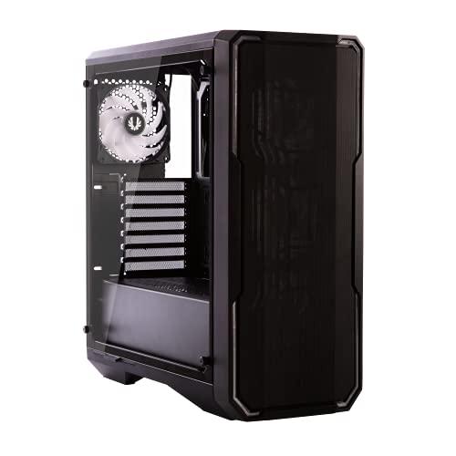 BitFenix Enso Mesh TG 4ARGB E-ATX MIDI-Tower, panel lateral de cristal templado para juegos con retroiluminación RGB direccionable, buena gestión de cables, placa frontal de malla con RGB (negro)