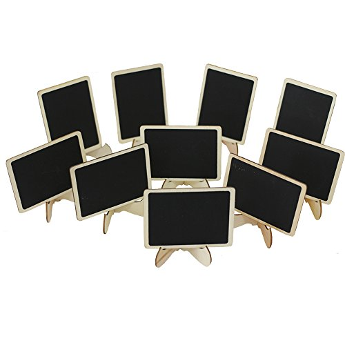 Megrocle 10 Pack Mini Rectangle Chalkboards with Support Easel for Message Board Signs, Weddings, Graduation Parties and Table Numbers, Food Presentation, Price Display