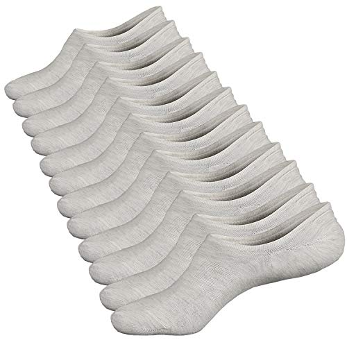 Ueither Damen Unsichtbare Sneaker Socken Baumwoll Kurzsocken Sport Socken für Loafers Boots Schuhe mit Rutschfest Silikon Größe 36-43