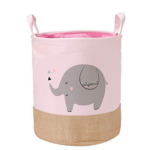 HB.YE Aufbewahrungsbox Baby für Kinderzimmer Große Kapazität Faltbar Faltbox Spielbox Tier Cartoon Aufbewahrung Spielzeug, Kleidung, Schuhe Spielzeugkiste 35x35x40cm (Rosa Elefant)