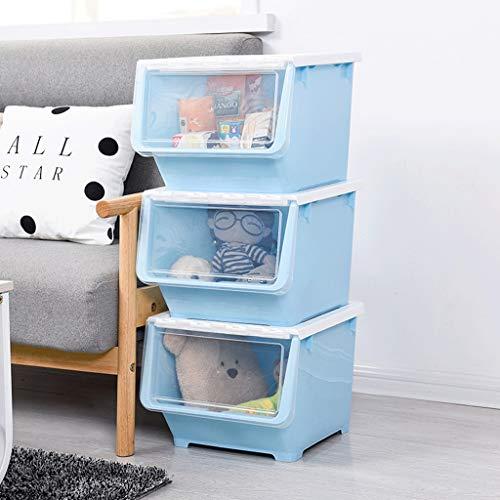 Cajas de cartón para embalaje 3 cajas de almacenamiento abiertas frontales laterales para juguetes, cesta de almacenamiento de plástico con tapa abatible, cajón, caja de cartón (color: azul)