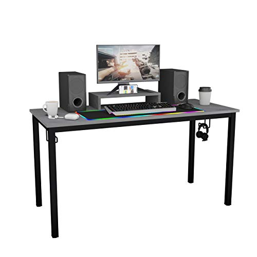 DlandHome Gaming Computer Desk with RGB LED Mouse Pad, 55 inches All-in-one Gaming Table/Workstation with Display Stand, ND14 Pro, Grey and Black Legs