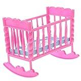 Sitrda Baby Schaukelbett aus Kunststoff für Schlafzimmer-Möbel-Zubehör für Barbie-Puppen, rosa