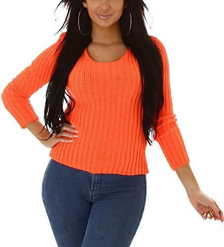 Jela London Damen Strick-Pullover Streifenmusterung Stretch, Neonorange