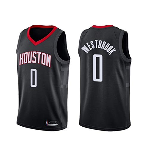 canottejerseyNBA Russell Westbrook - Houston Rockets #0, Basket Jersey Maglia Canotta, Swingman Ricamata, Abbigliamento Sportivo (L, Nero Statement)