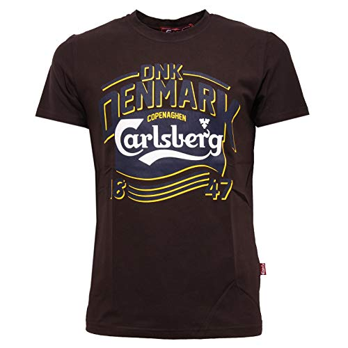 Carlsberg 8528K Maglia Uomo Slim Fit Dark Brown Cotton t-Shirt Man [XXL]