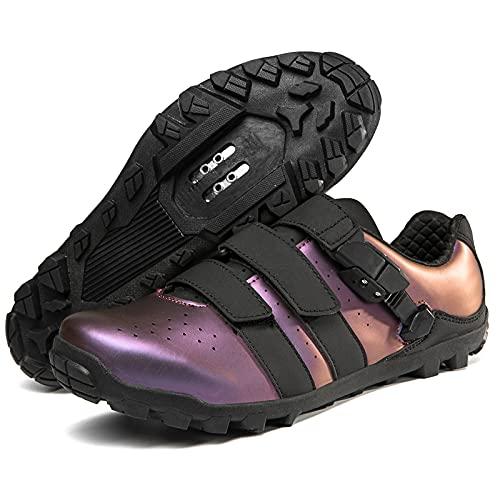 KUXUAN Zapatillas de Ciclismo para Hombre, para Mujer, Antideslizante, para Bicicleta de montaña, para Hombre, para Bicicleta de Carretera, MTB, para Carreras en Interiores y Exteriores,Purple-45EU