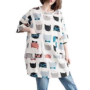 Women's Round Neck Cat Print Shirt Top Tunic