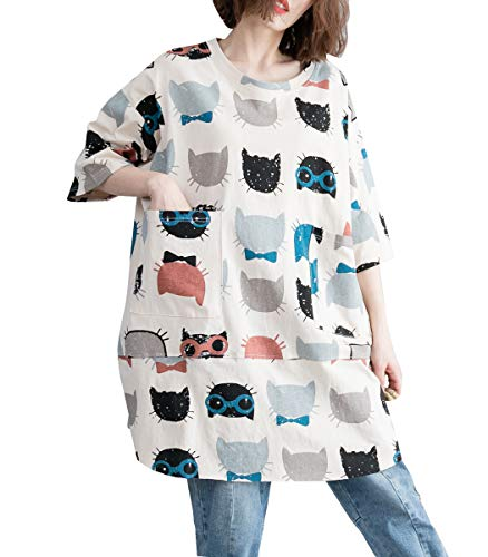 ellazhu Women Summer Round Neck Cat Print Shirt Top GA1366 White