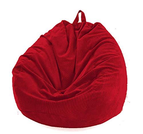 Funda Puff Pera SIN Relleno Cubierta de Sillón Sofá Perezoso Silla de Puf Tumbona Funda de Pana para Puf Bolsa de Frijol Bean Bag para Adultos y Niños Accesorio de Hogar para Muebles (Rojo, M)
