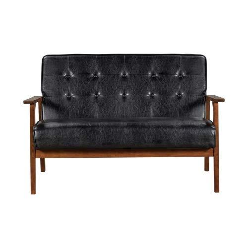 TAHMM Sofá de 2 asientos tapizado de piel sintética de alta calidad, color negro