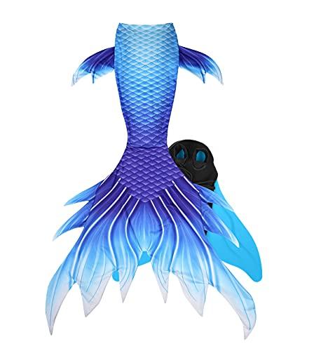 Guter Handwerker Mädchen Meerjungfrauenschwanz zum Schwimmen Mermaid Tail für Kinder und Erwachsene INBEGRIFFEN Monoflosse (Hellblau, X-Small)