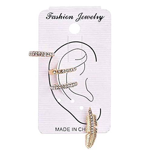 Ivyday Full Rhinestone Leaf Earring Set for Women Zircon Ear Cuff Ear Crawler Studs Earrings Set
