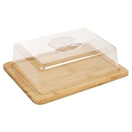 Bandeja de queso hecha de bambú, con tapa de acrílico y