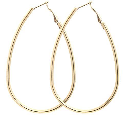 2LIVEfor Große Ohrringe Creolen oval Gold Hoop Earrings Ohrhänger Hoops Creolen sehr Groß Riesig Tropfenform Schlicht Modern Creolen XXL