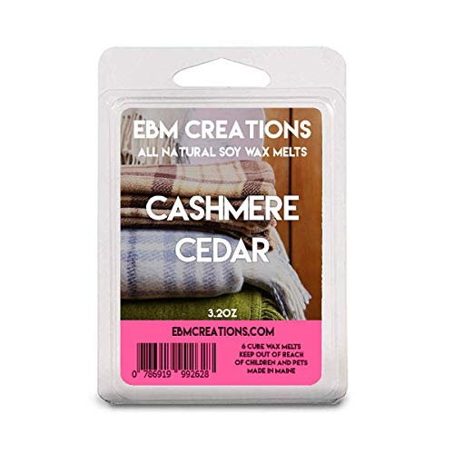 Cashmere Cedar - Scented All Natural Soy Wax Melts - 6 Cube Clamshell 3.2oz Highly Scented!