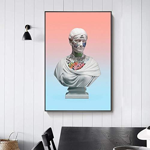 Modern Leinwand Malerei Abstrakte Vaporwave Skulptur Leinwand Kunst Poster Graffiti Kunst von David Gemälde auf der Wall Street Art Picture Wall Decor 50 * 75cm