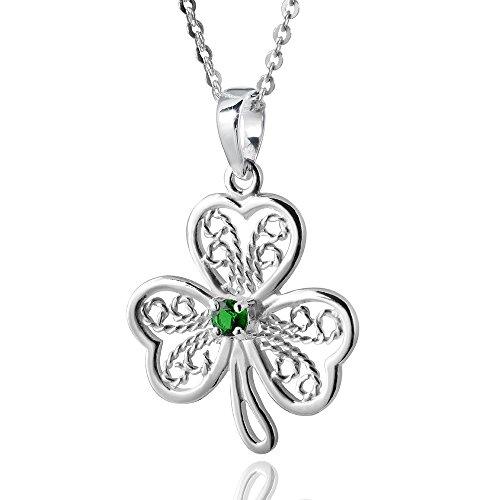 MATERIA Kleeblatt Kettenanhänger Silber 925 - Damen Anhänger Glücksbringer Zirkonia grün #KA-226
