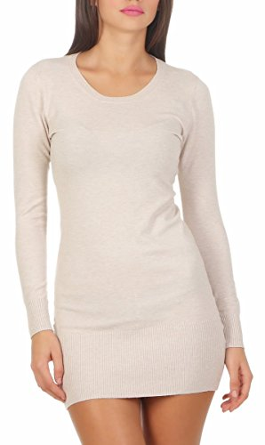 Fashion4Young 10963 Damen Feinstrick Pullover Strickpullover Langarm Rundhals Strickkleid Mini (beige, S/M=34/36)