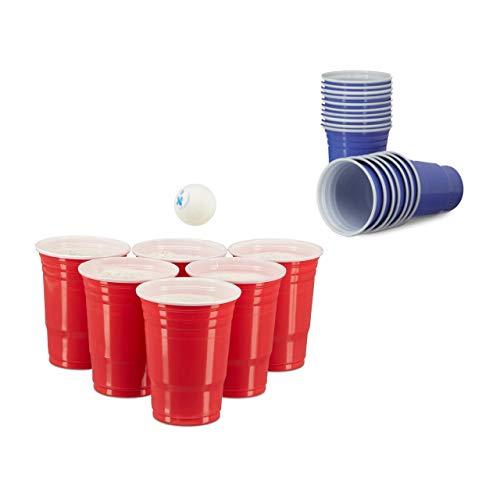 Relaxdays 100 x Beer Pong Becher in Rot und Blau, Getränkebecher 473 ml / 16 oz, Partybecher US College Style, red, Blue