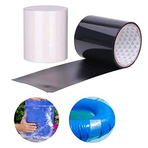 INTVN 2pcs Wasserdichtes Klebeband, PVC Leck-Reparatur, selbstklebendes Klebeband, Befestigungswerkzeug für Notfall-Rohrleitungen und Wasserschläuche, Elektrische Kabel(Schwarz + transparent)