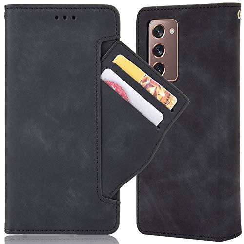 Miimall für Samsung Galaxy Z Fold 2 5G Hülle, [Mehrere Kartenfächer] Premium Leder Klapphülle mit Magnetschnalle Schutzhülle für Samsung Galaxy Z Fold 2 5G 2020 - Schwarz