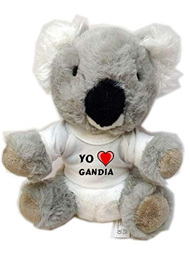 Koala personalizada de peluche (juguete) con Amo Gandia en la camiseta (ciudad / asentamiento)