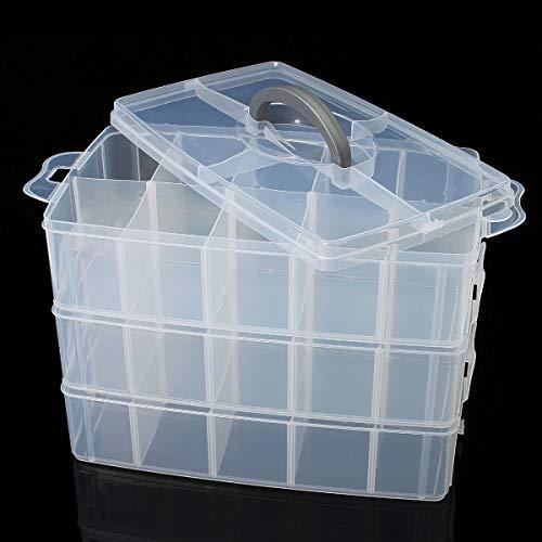 Transparante plastic vakken opbergdoos 3 laag gereedschap sieraden ambachtelijke kralen organisator case Xl-2