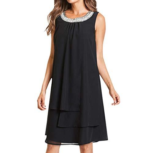 URIBAKY Frauen-Partykleid-Chiffon-Sommerkleider-große größen-Damen Kleider elegant Knielang-Pailletten-Oansatz T-Shirtkleid-Ärmellos beiläufiges Schaukel