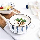 HUANXA Japonés Tazón De Sopa con Agarre, Calentador De Cerámica Cuenco Tazas De Sopa Sin Plomo Apto para Microondas En Lavavajillas Taza De Café Taza De Cereal para Yogur -C-250ml/8.5oz