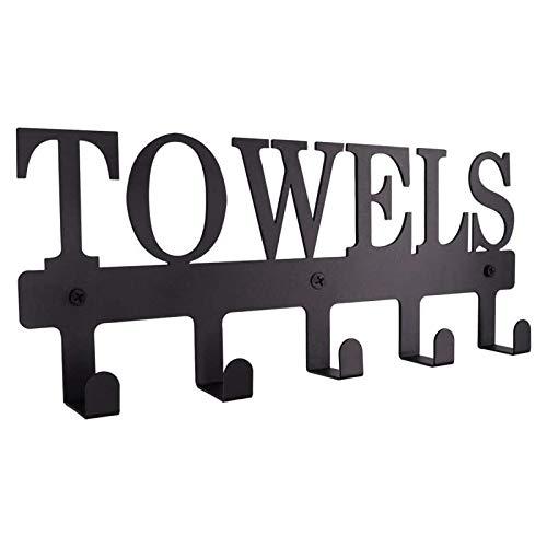 Youmine Toalleros 5 Ganchos Soporte de Toalla de Metal Negro Resistente una la CorrosióN e Impermeable