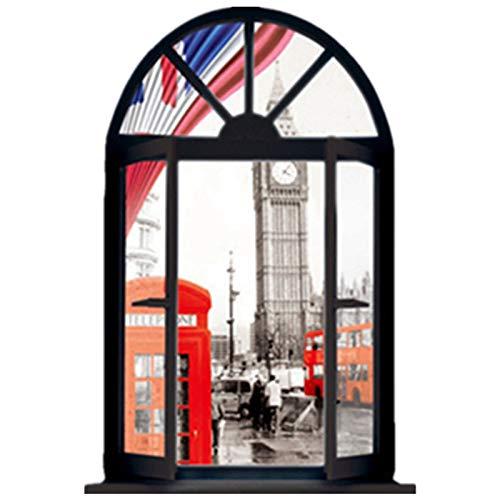 BLOUR London Street View murale Torre dell'orologio Cabina telefonica falsi adesivi murali per finestre 3D decorazioni per la casa Poster in vinile Stile occidente 70 * 50 cm