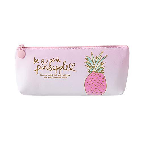 BB67 Estuche para lápices de piña, color rosa, para cosméticos, maquillaje, lápices, papelería, escuela, oficina, suministros para regalo para niños